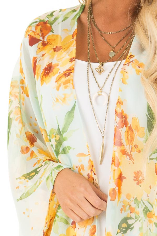 Baby Blue Sheer Floral Print Open Front Kimono detail