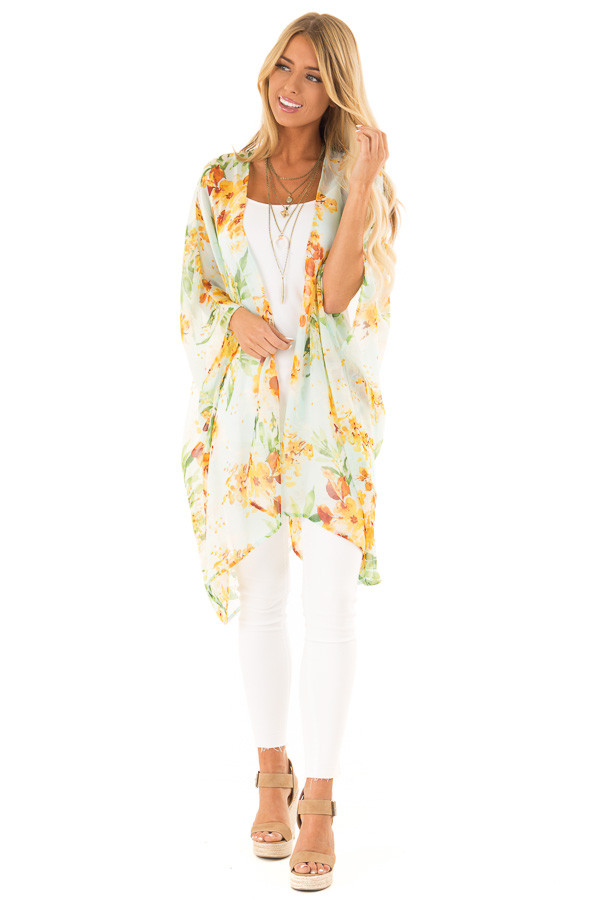 Baby Blue Sheer Floral Print Open Front Kimono front full body