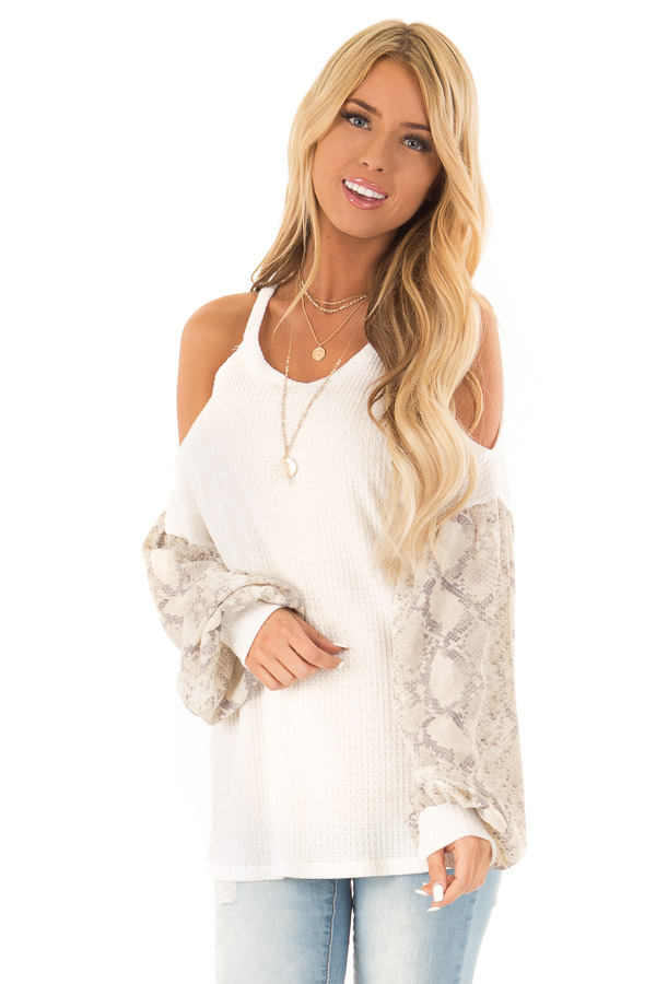 White and Snakeskin Contrast Waffle Knit Cold Shoulder Top front close up