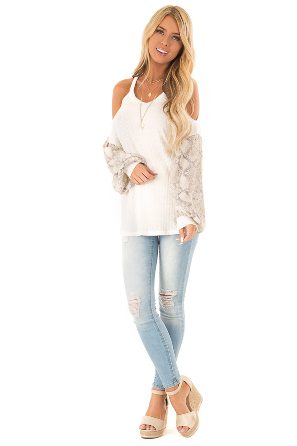 White and Snakeskin Contrast Waffle Knit Cold Shoulder Top front full body