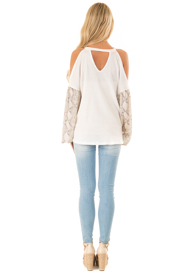 White and Snakeskin Contrast Waffle Knit Cold Shoulder Top back full body