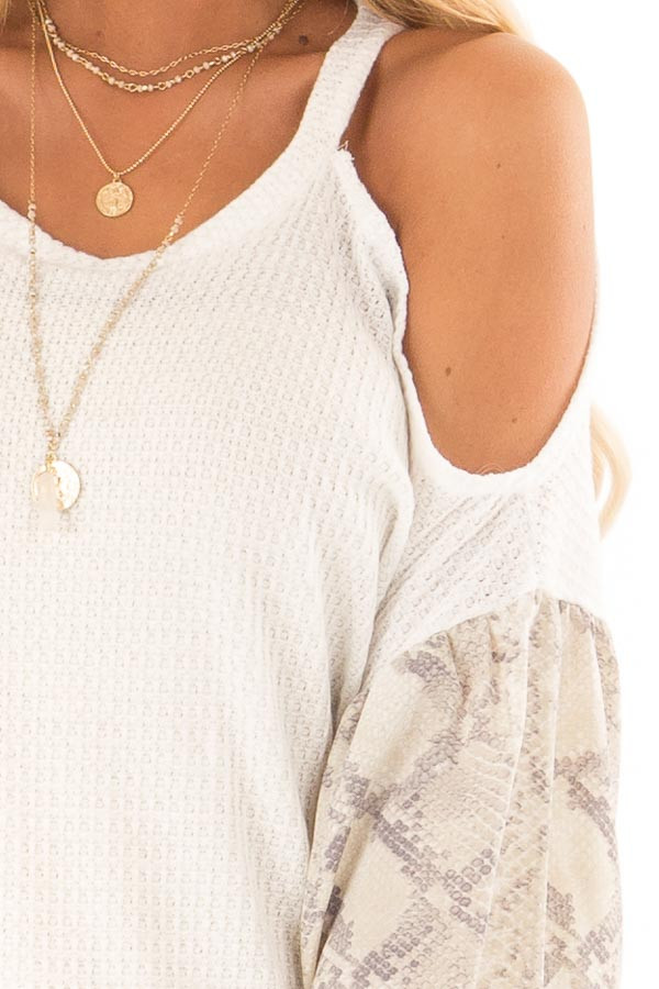 White and Snakeskin Contrast Waffle Knit Cold Shoulder Top detail