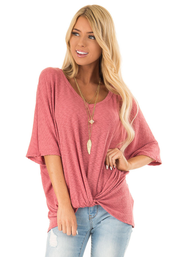 Light Marsala V Neck Ribbed Top with Front Twist front close up
