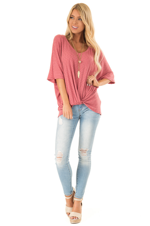 Light Marsala V Neck Ribbed Top with Front Twist front full body