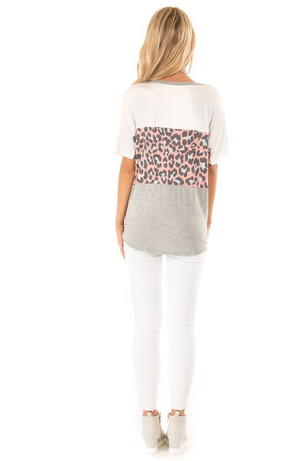 Heather Grey Color Block Button Up Top with Front Tie back full body