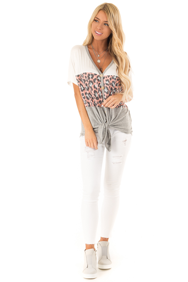 Heather Grey Color Block Button Up Top with Front Tie front full body