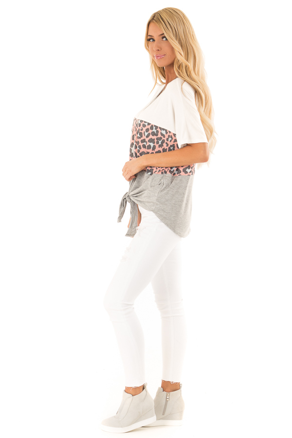 Heather Grey Color Block Button Up Top with Front Tie side full body