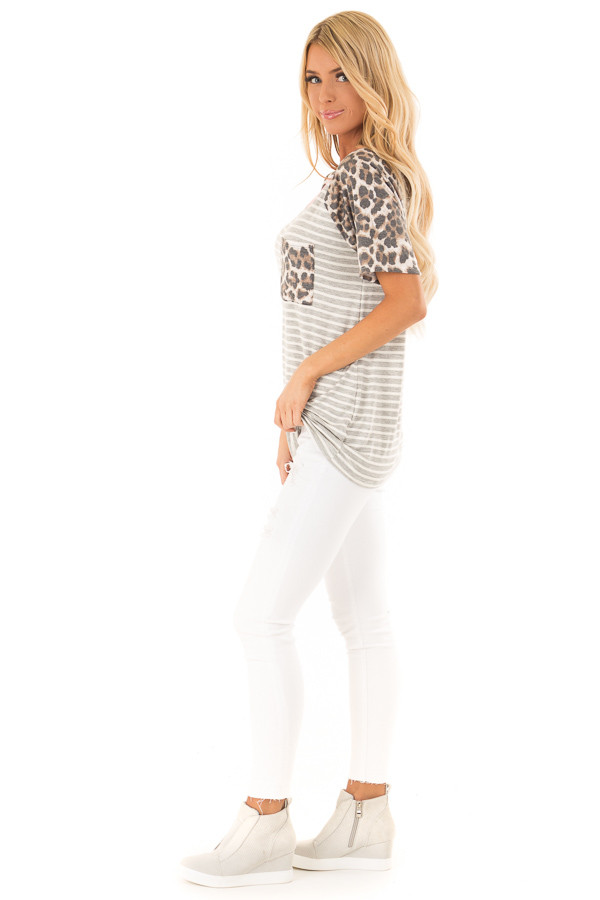 Heather Grey and Ivory Striped Top with Leopard Print Detail side full body