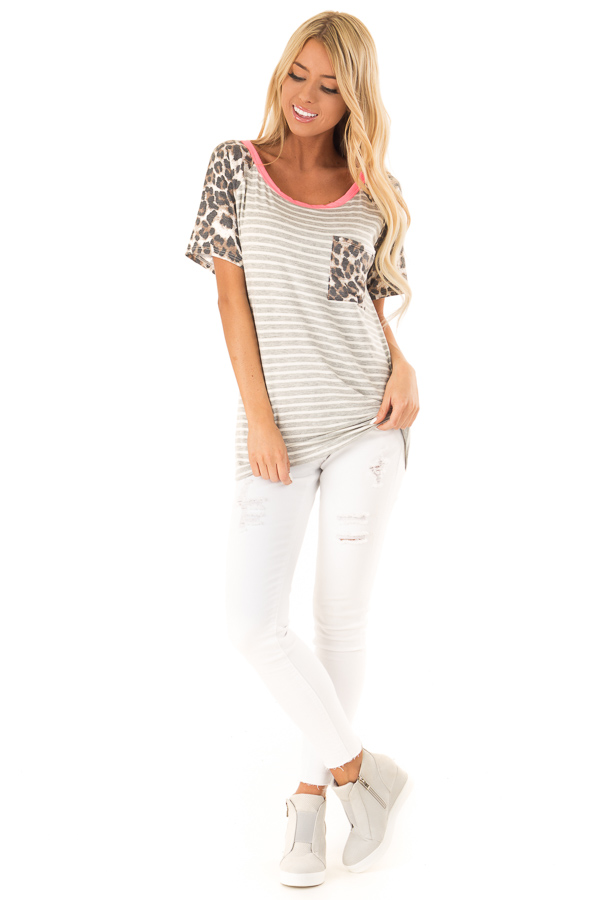 Heather Grey and Ivory Striped Top with Leopard Print Detail front full body