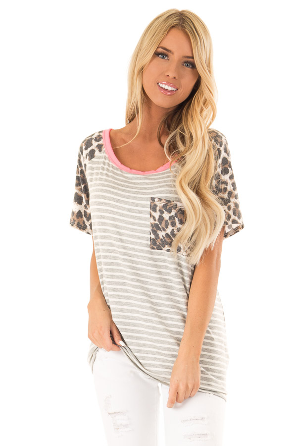 Heather Grey and Ivory Striped Top with Leopard Print Detail front close up