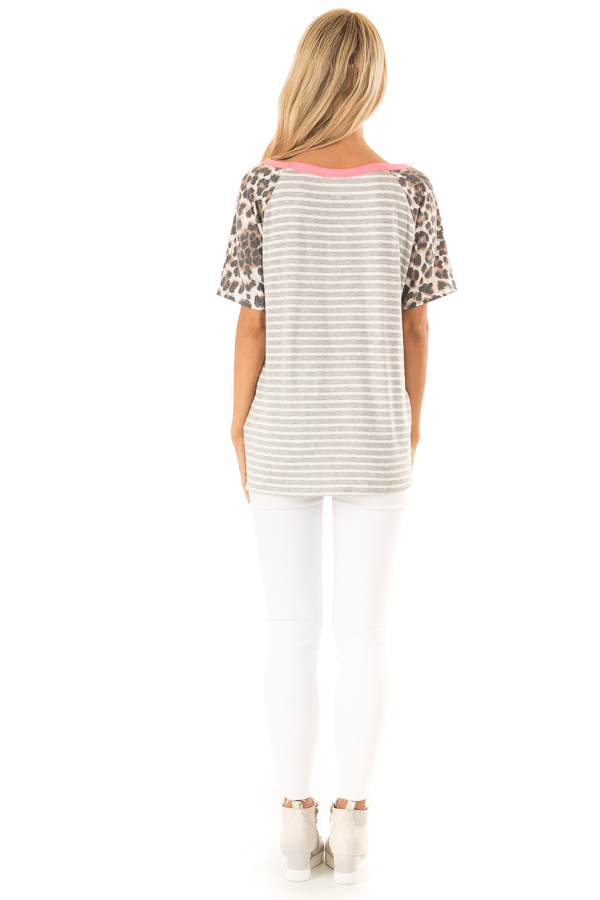 Heather Grey and Ivory Striped Top with Leopard Print Detail back full body