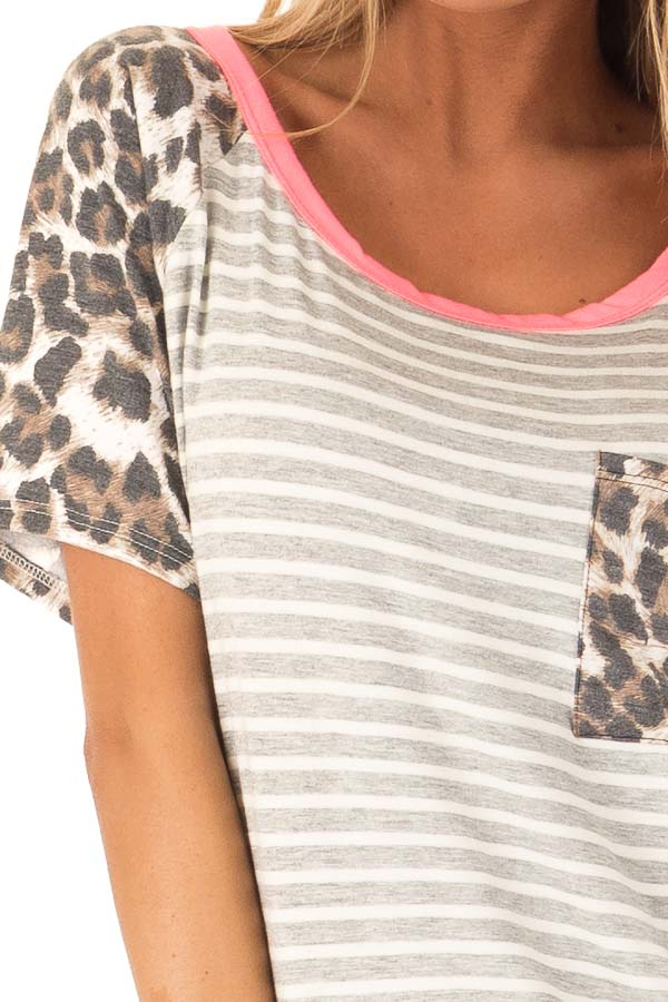 Heather Grey and Ivory Striped Top with Leopard Print Detail detail