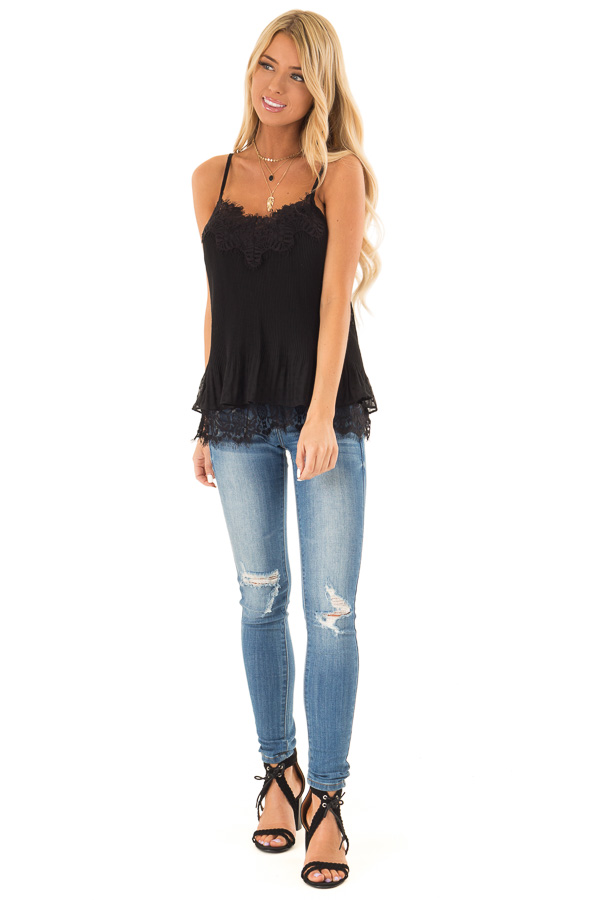 Ebony Ribbed Tank with Lace Trim and Ruffle Detail front full body