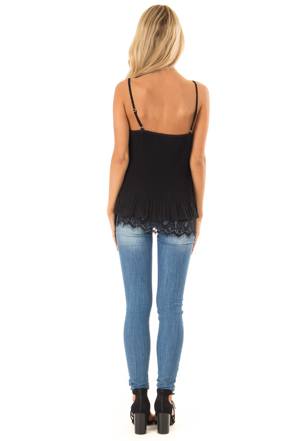 Ebony Ribbed Tank with Lace Trim and Ruffle Detail back full body