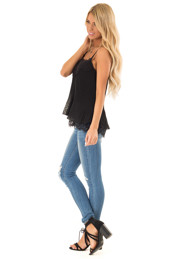 Ebony Ribbed Tank with Lace Trim and Ruffle Detail side full body