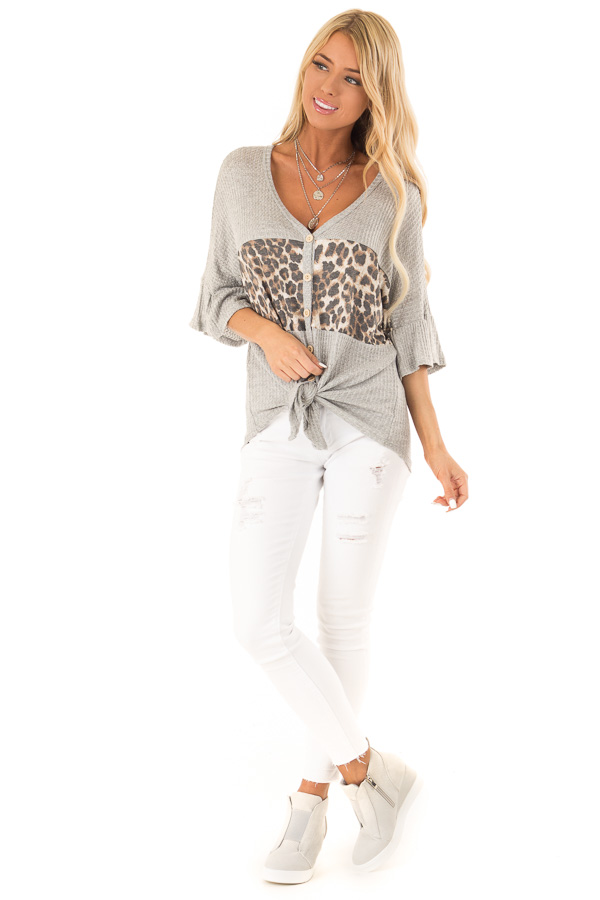 Heather Grey Cheetah Top with Ruffle Sleeves and Front Tie front full body