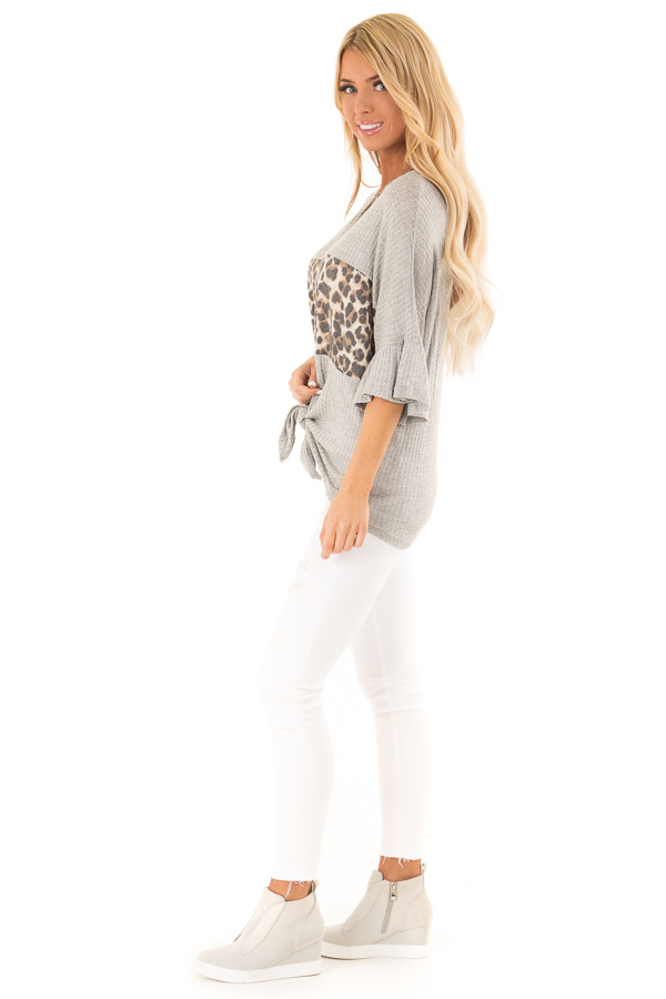 Heather Grey Cheetah Top with Ruffle Sleeves and Front Tie side full body