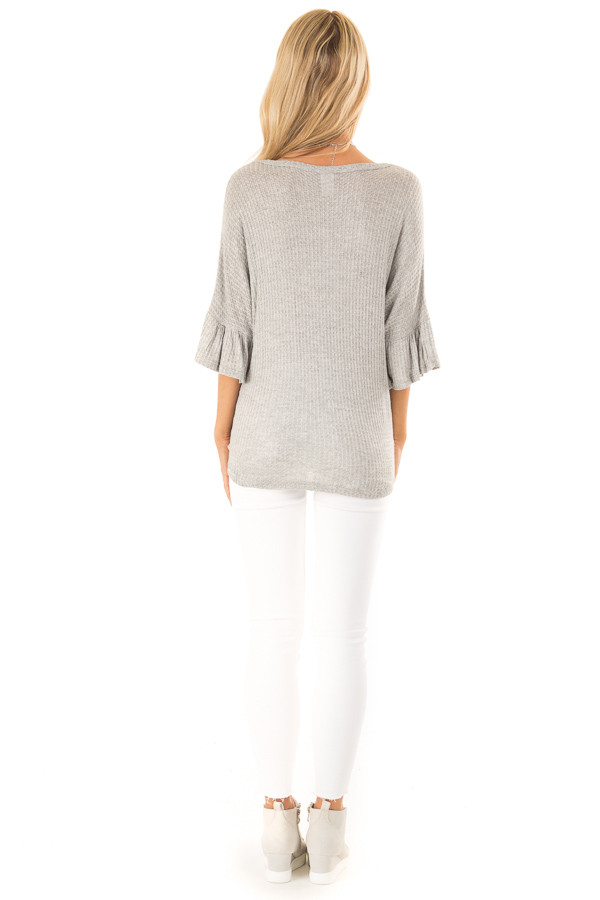 Heather Grey Cheetah Top with Ruffle Sleeves and Front Tie back full body