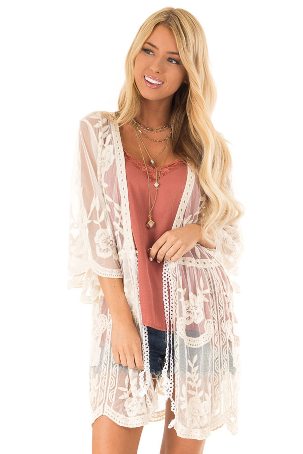 Cream Sheer Lace Floral Cardigan with Half Sleeves front close up