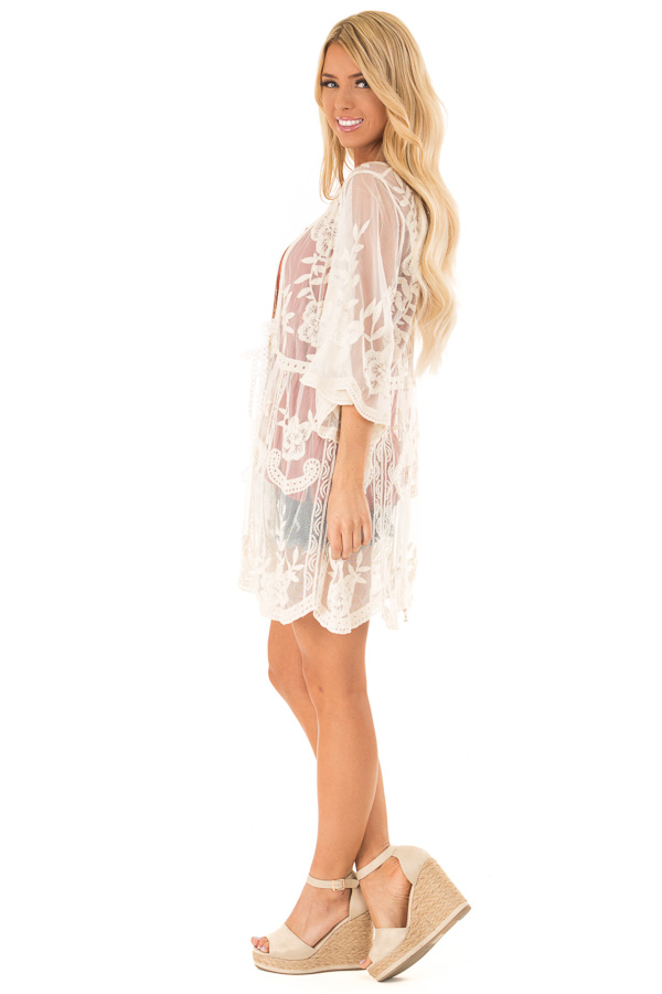 Cream Sheer Lace Floral Cardigan with Half Sleeves side full body