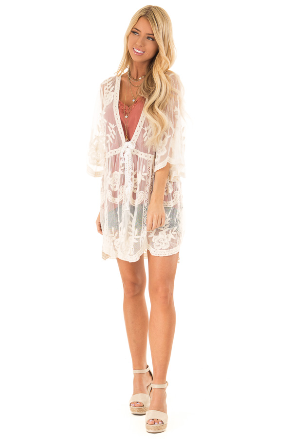Cream Sheer Lace Floral Cardigan with Half Sleeves front full body