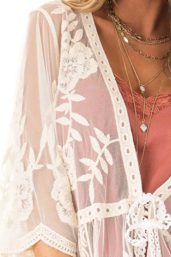 Cream Sheer Lace Floral Cardigan with Half Sleeves detail