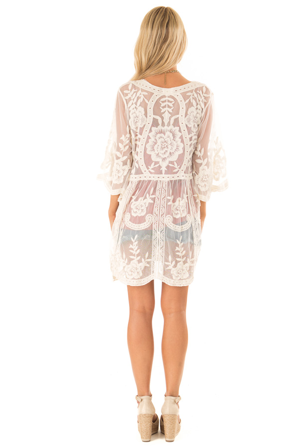 Cream Sheer Lace Floral Cardigan with Half Sleeves back full body