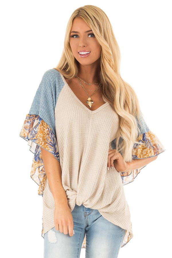 Oatmeal and Denim Blue Top with Contrasting Short Sleeves front close up