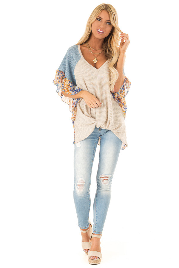 Oatmeal and Denim Blue Top with Contrasting Short Sleeves front full body