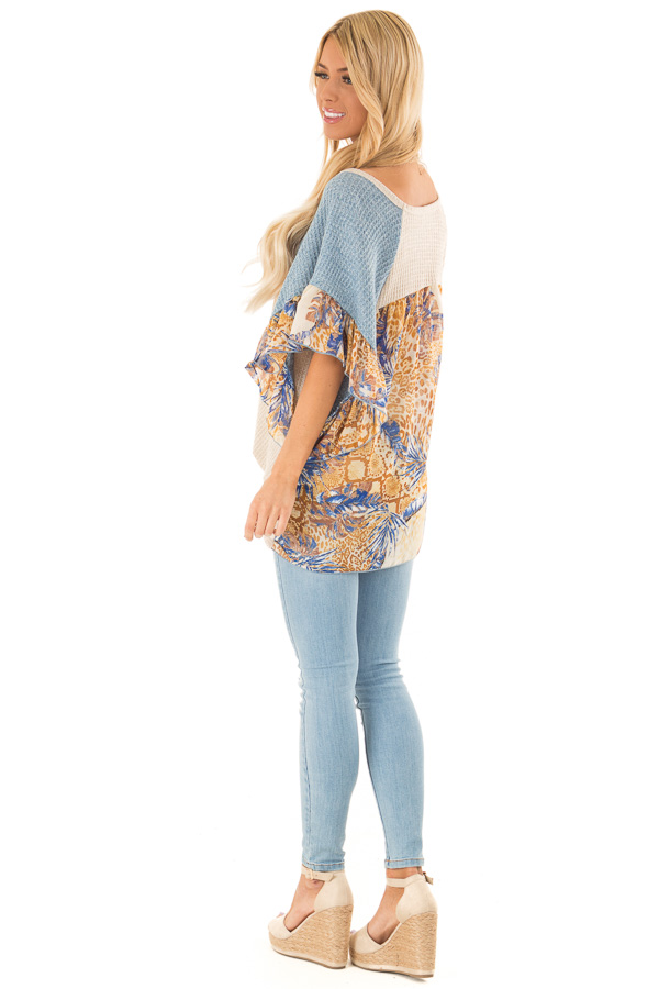 Oatmeal and Denim Blue Top with Contrasting Short Sleeves side full body