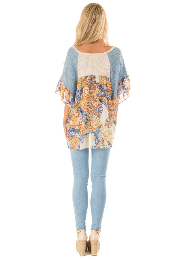 Oatmeal and Denim Blue Top with Contrasting Short Sleeves back full body