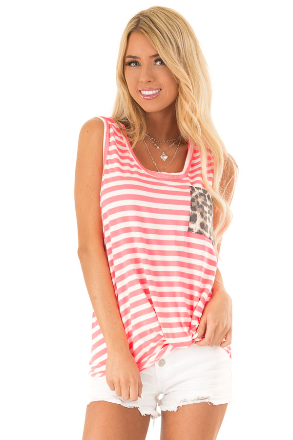 Hot Pink and Ivory Striped Tank Top with Leopard Print Pocket front close up