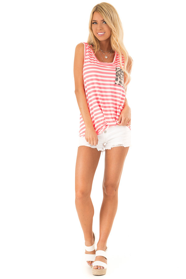 Hot Pink and Ivory Striped Tank Top with Leopard Print Pocket front full body