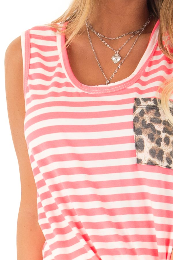 Hot Pink and Ivory Striped Tank Top with Leopard Print Pocket detail