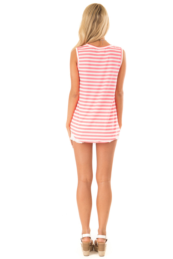Hot Pink and Ivory Striped Tank Top with Leopard Print Pocket back full body