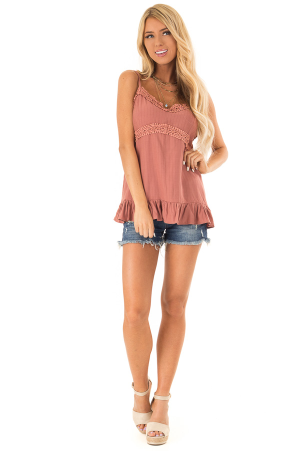 Light Rust Tank Top with Crochet Lace and Ruffle Detail front full body