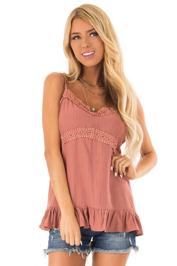 Light Rust Tank Top with Crochet Lace and Ruffle Detail front close up