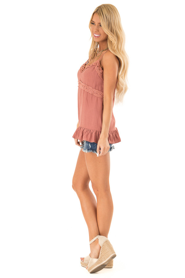 Light Rust Tank Top with Crochet Lace and Ruffle Detail side full body