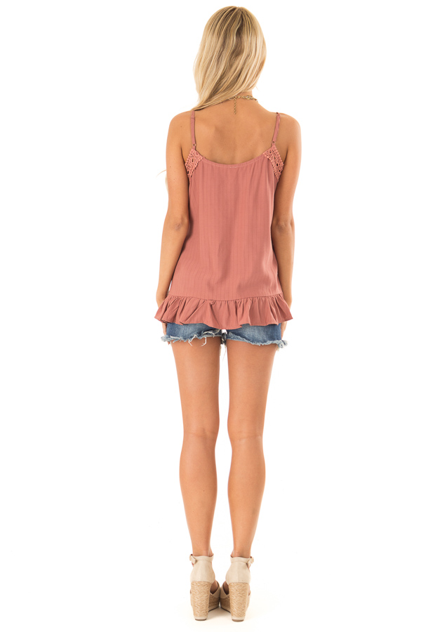 Light Rust Tank Top with Crochet Lace and Ruffle Detail back full body