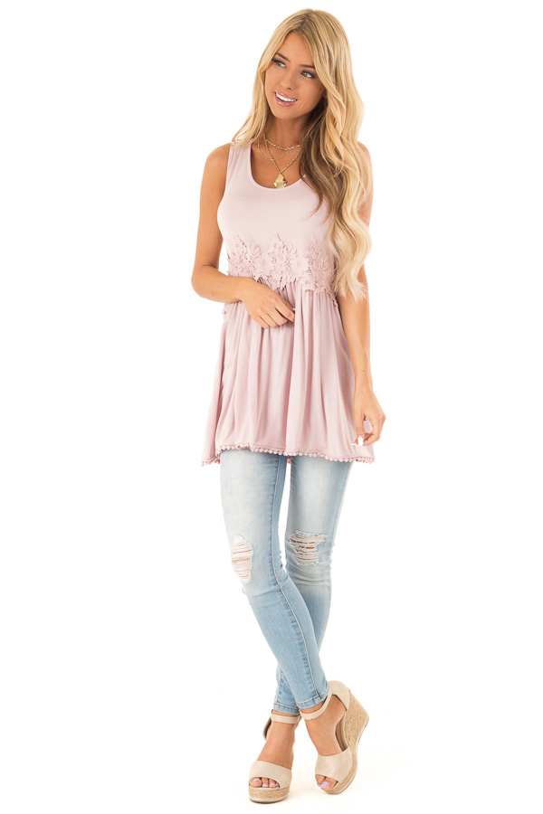 Faded Rose Sleeveless Babydoll Tunic Top with Crochet Detail front full body