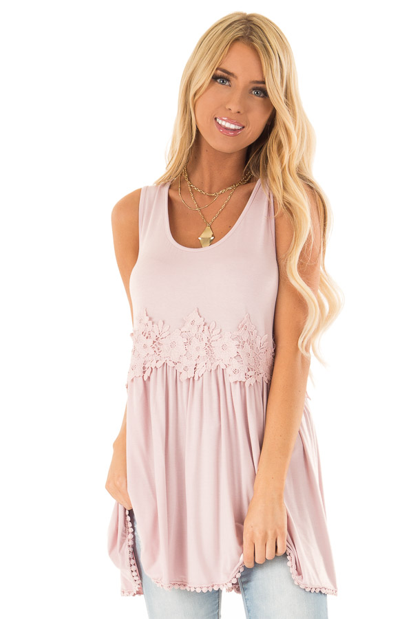 Faded Rose Sleeveless Babydoll Tunic Top with Crochet Detail front close up