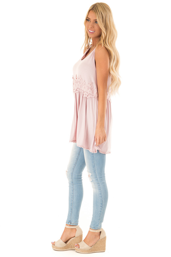 Faded Rose Sleeveless Babydoll Tunic Top with Crochet Detail side full body