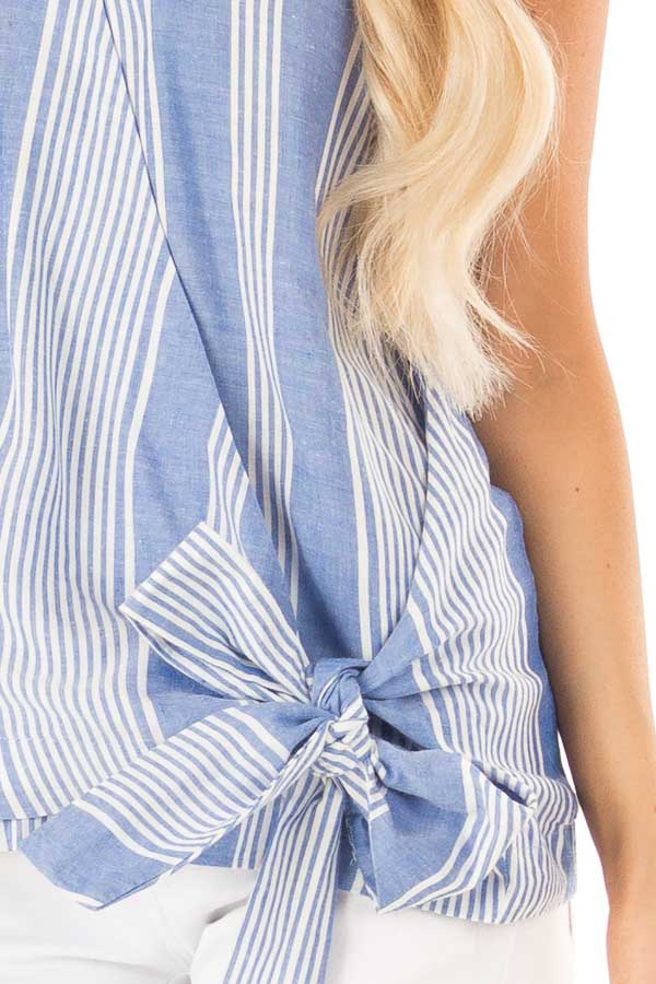 Denim Blue and White Striped Sleeveless Wrap Top with Tie detail