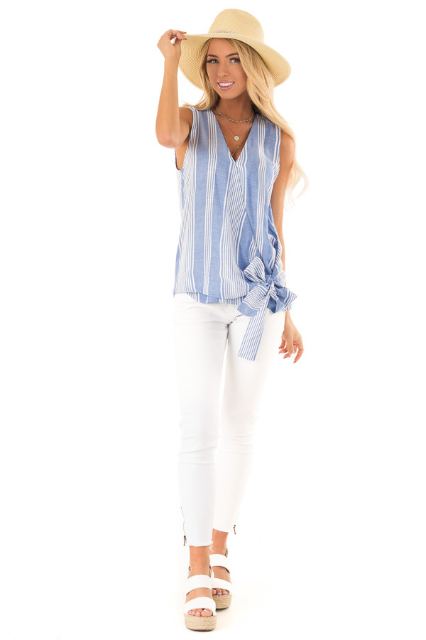 Denim Blue and White Striped Sleeveless Wrap Top with Tie front full body