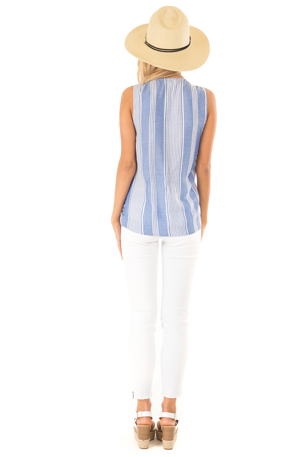 Denim Blue and White Striped Sleeveless Wrap Top with Tie back full body