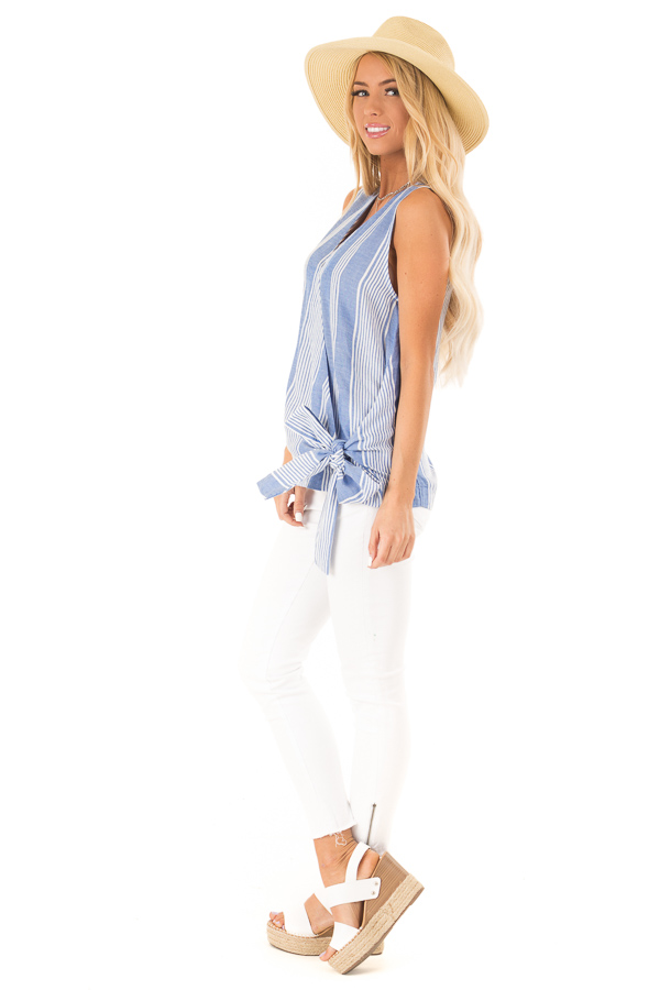 Denim Blue and White Striped Sleeveless Wrap Top with Tie side full body