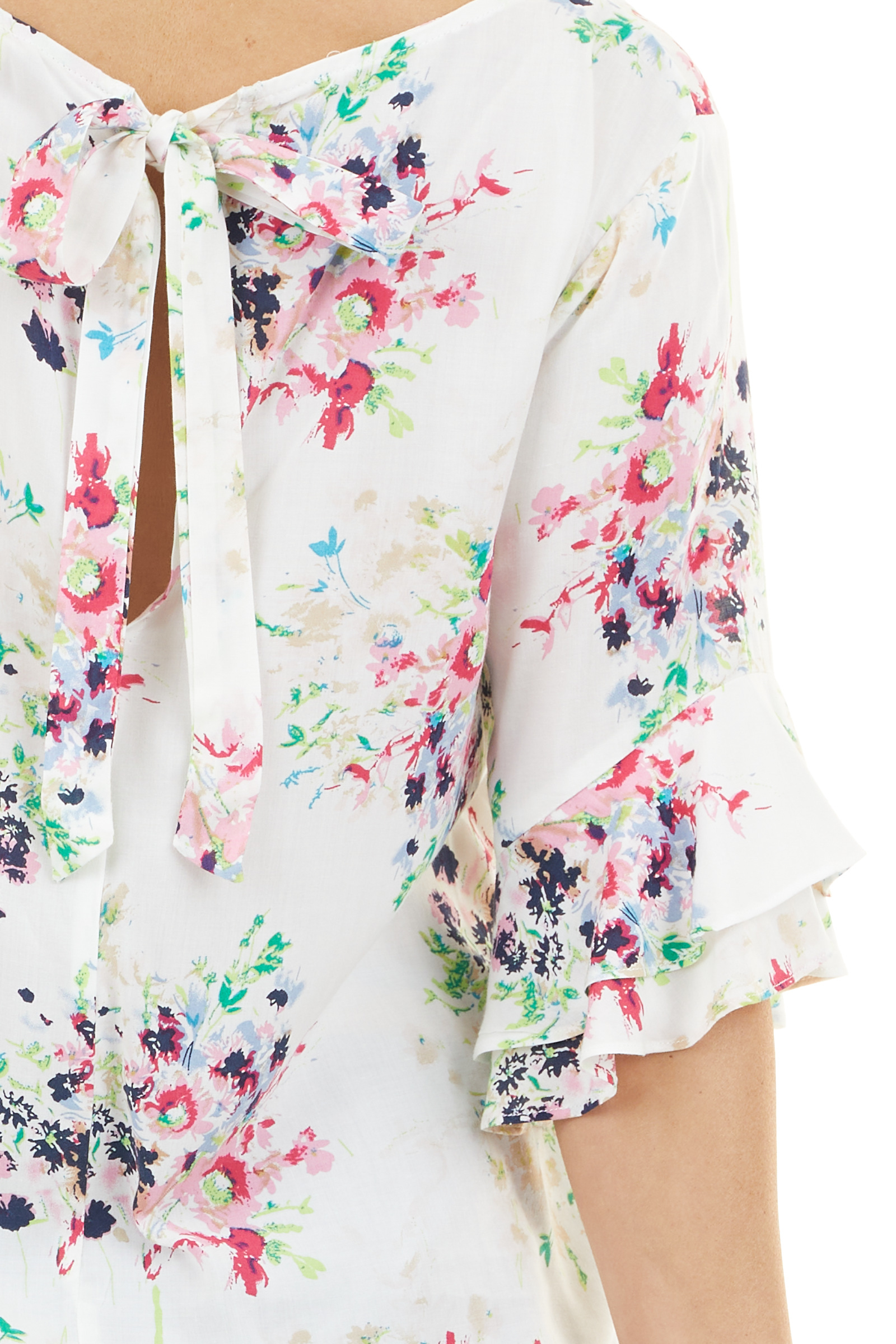 Daisy White Floral Top with Ruffled Sleeves and Back Tie