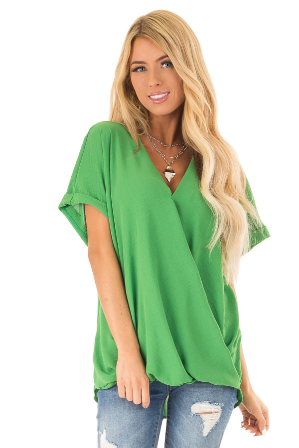 Grass Green V Neck Surplice Top with Short Cuffed Sleeves front close up