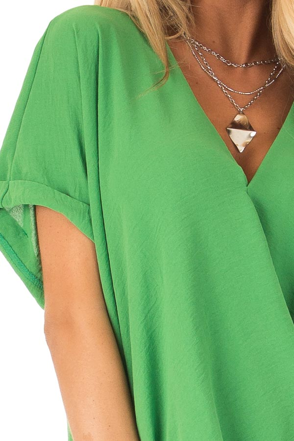 Grass Green V Neck Surplice Top with Short Cuffed Sleeves detail