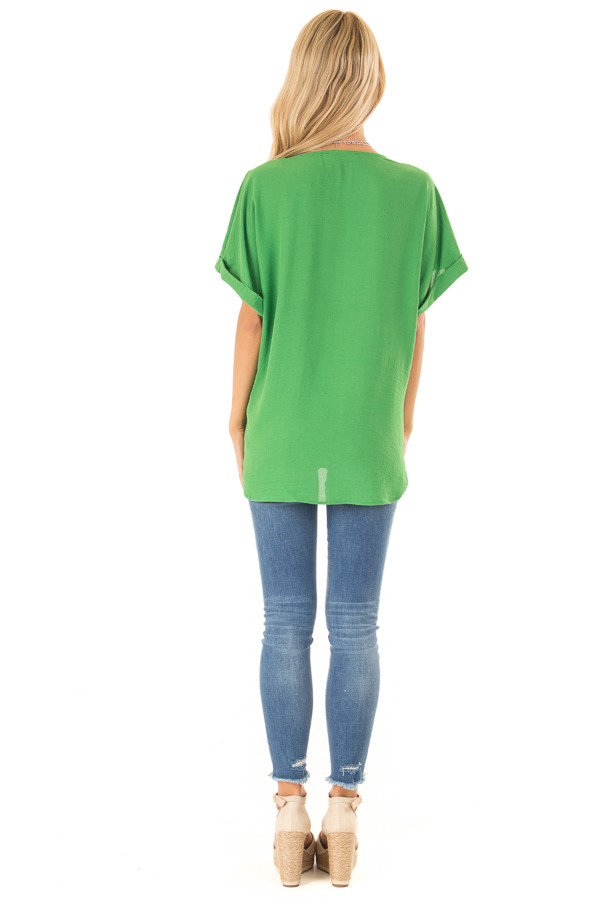 Grass Green V Neck Surplice Top with Short Cuffed Sleeves back full body